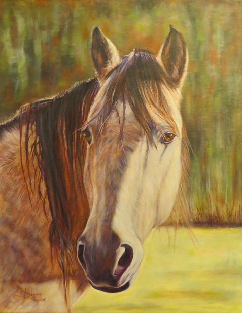 Horse portrait in oils, Maggie