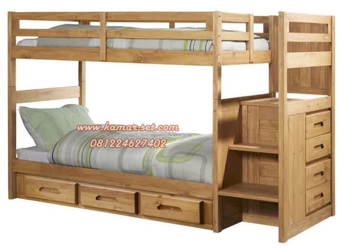 model tempat tidur tingkat kayu laki perempuan terbaru