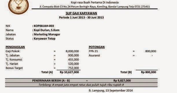 Contoh Slip Gaji Karyawan Swasta Excel