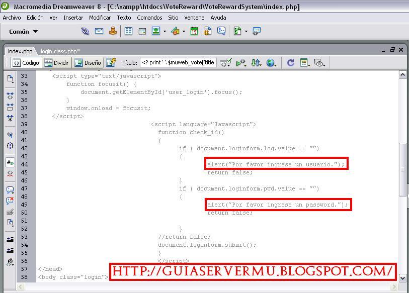 Modificando mensajes de error en el dreamweaver