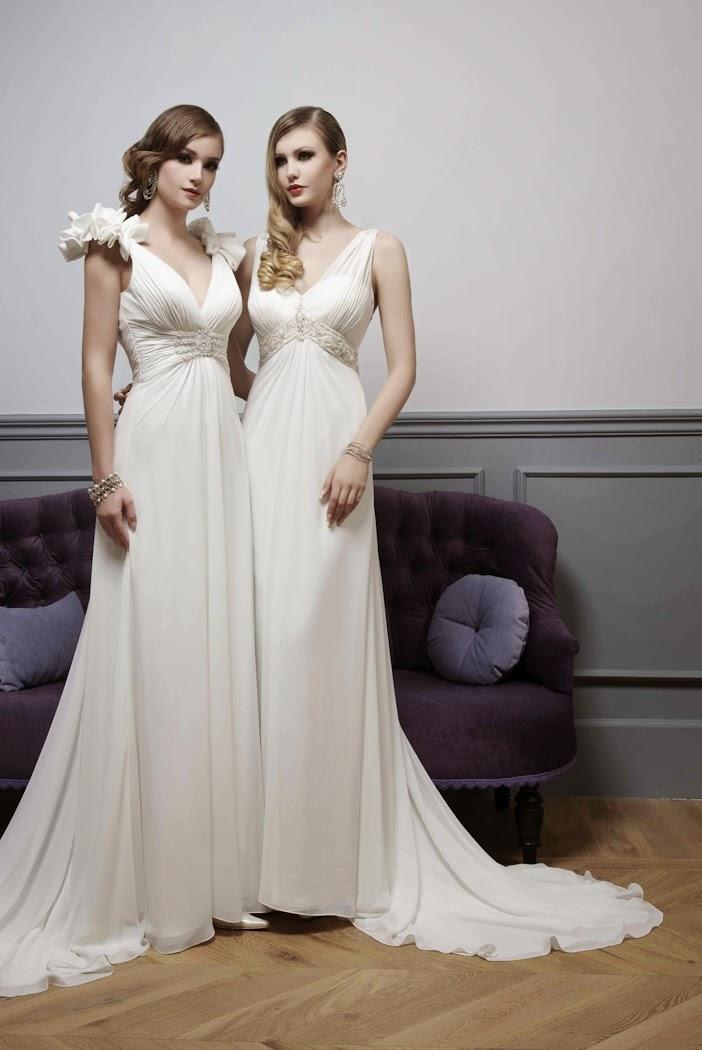 Brautmoden schlicht, lange Brautkleider fliessend aus Chiffon mit Träger.