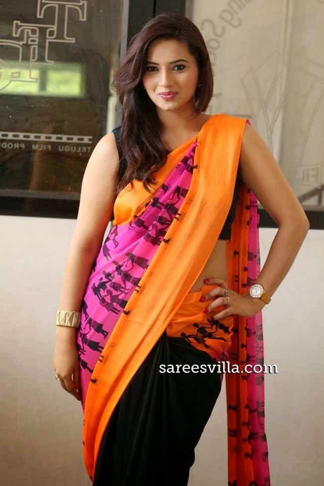 Iisha Chaawla In Black and Pink Saree