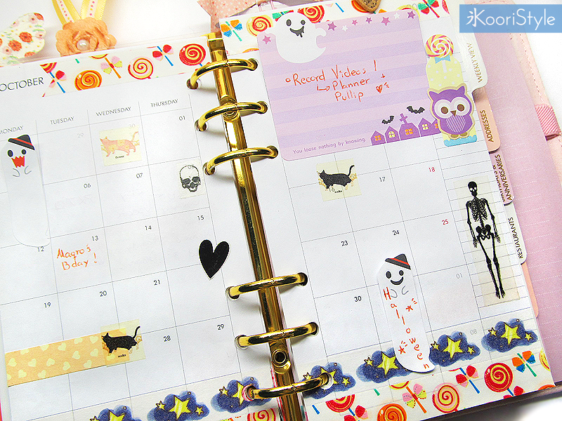 Koori KooriStyle Kawaii Cute Planner Stationery Goods Goodies Agenda Journal Washi Deco Tape Sticky Note Notes Stickers Halloween Monthly Decoration Plan With Me