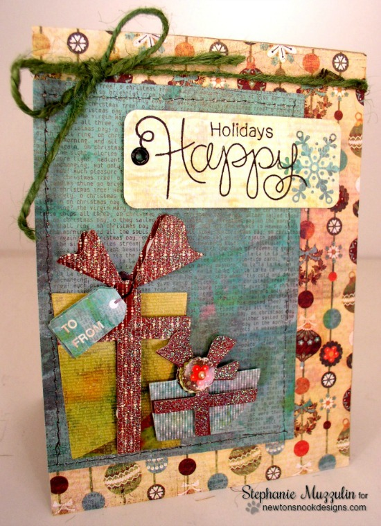Happy Holidays card by Stephanie Muzzulin | Simply Seasonal Stamp set by Newton's Nook Designs #newtonsnook