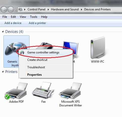 how to change game controller settings in windows 7