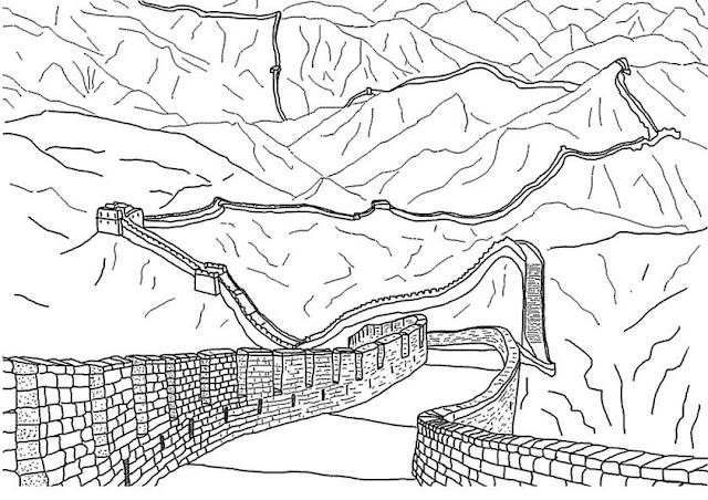 chinese coloring page - desenhos da muralha da china para colorir