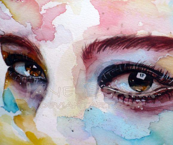 Jana Lepejova jane-beata deviantart pinturas aquarela mulheres olhares femininos Aquarela