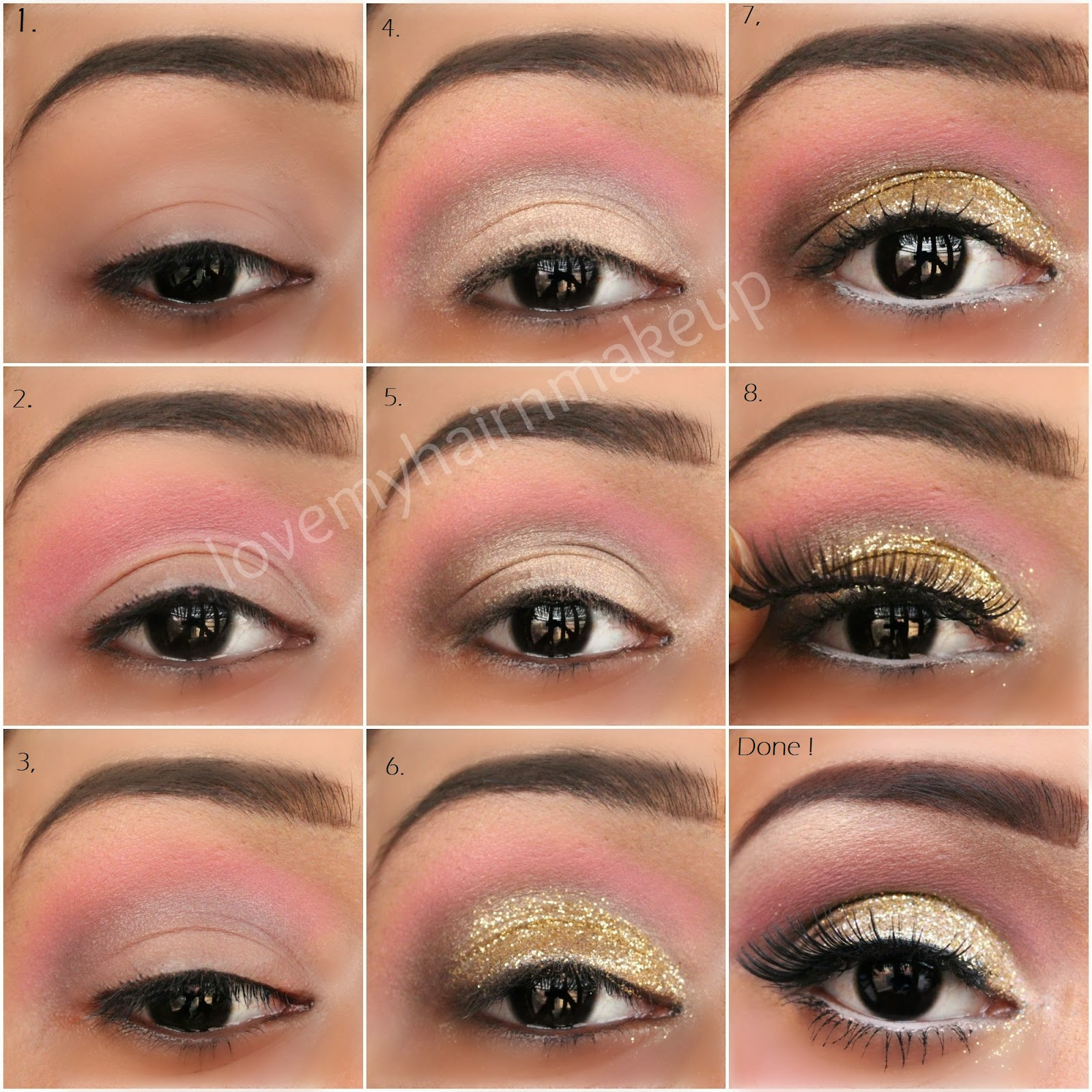 How To Do Gold Glitter Eye Makeup Tutorial