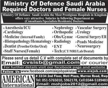 Doctors & Female Nurses Jobs in Ministry of Defensc Saudi Arabia