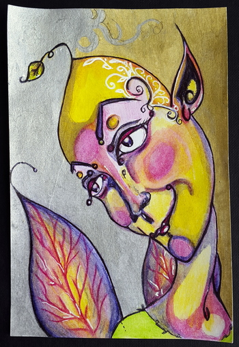Whoopidooings: Carmen Wing - Fae on index card using Inktense