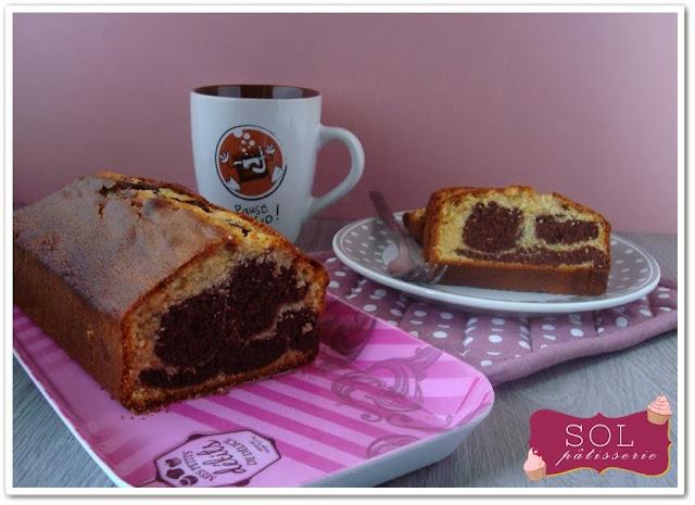 Cake marbré chocolat vanille - Bolo marmoreado de chocolate e baunilha