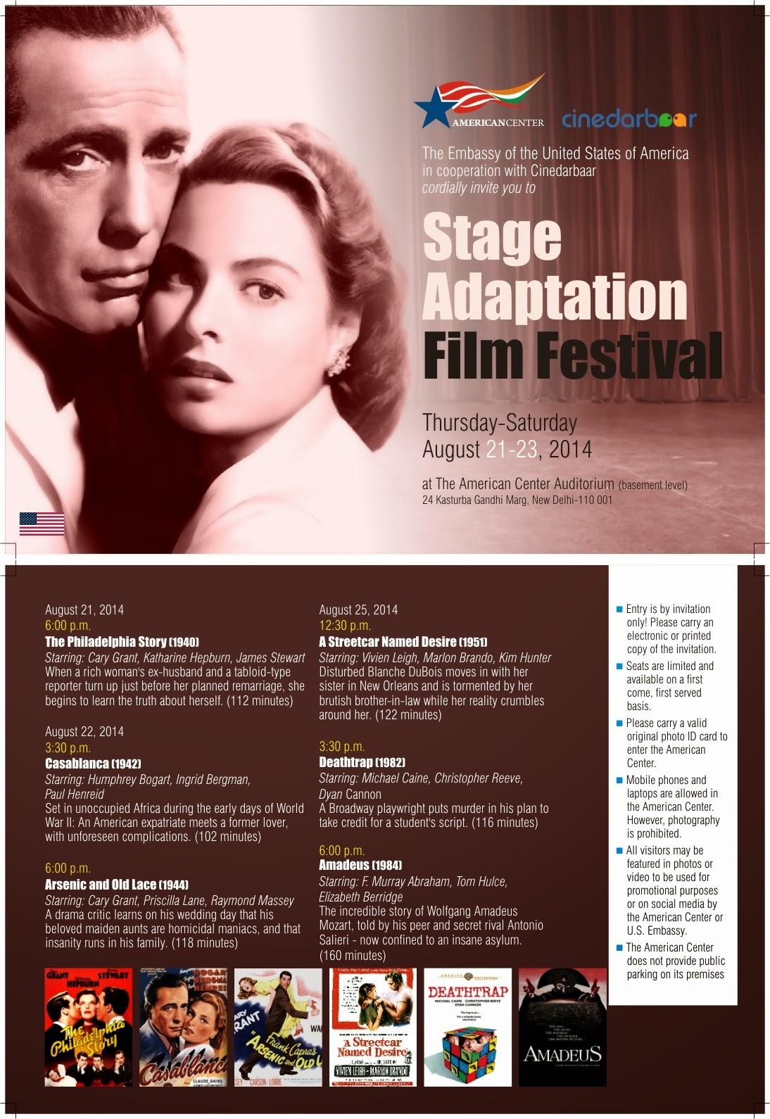 Stage Adaptation Film Festival, Festival Poster, American Center, Cinedarbar
