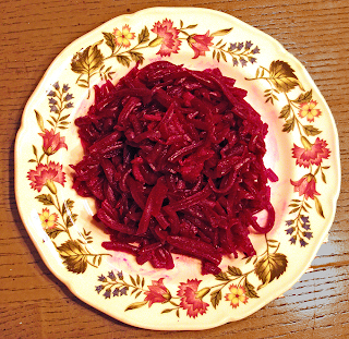Plate of Shredded Beets with Bacon & Vinegar