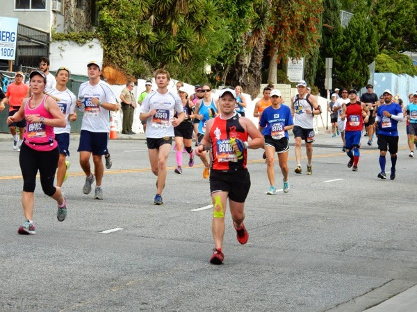 2015 LA Marathon runners San Vicente Boulevard West Hollywood