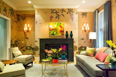 ruang tamu nampak cantik dengan wallpaper dinding - blog