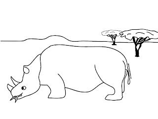 a desenhar Piu-Piu Tigre, Rinoceronte e leão colorir