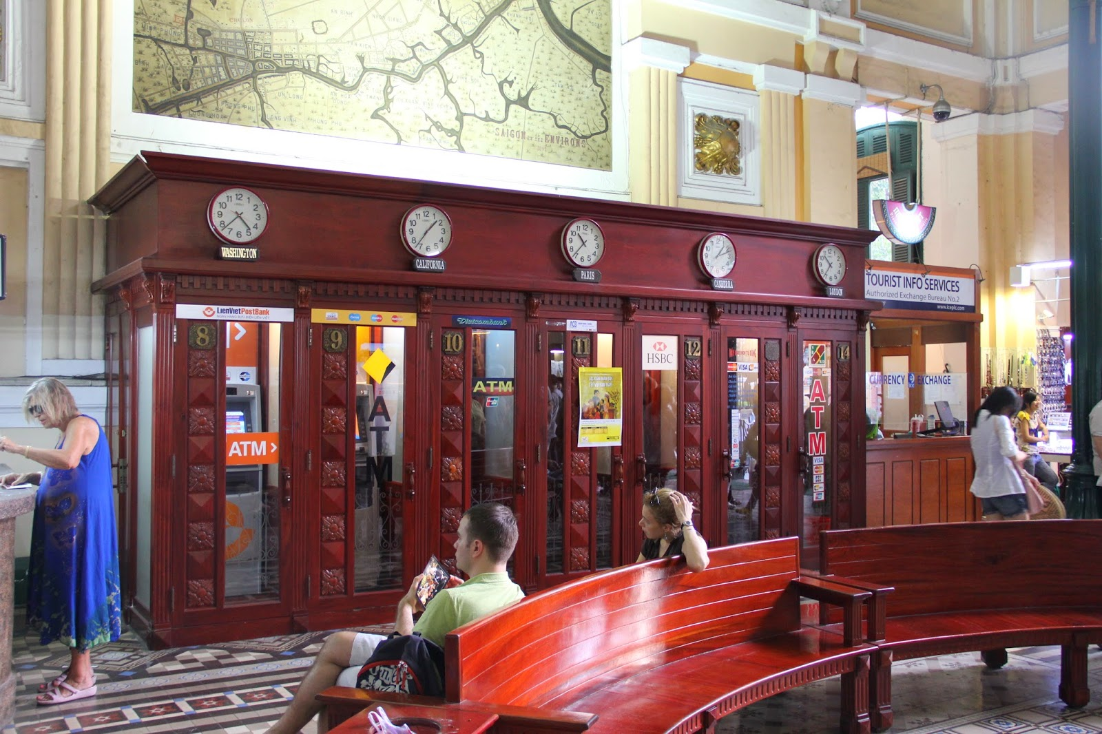 The old telephone booths at the General Post Office now house ATMs!