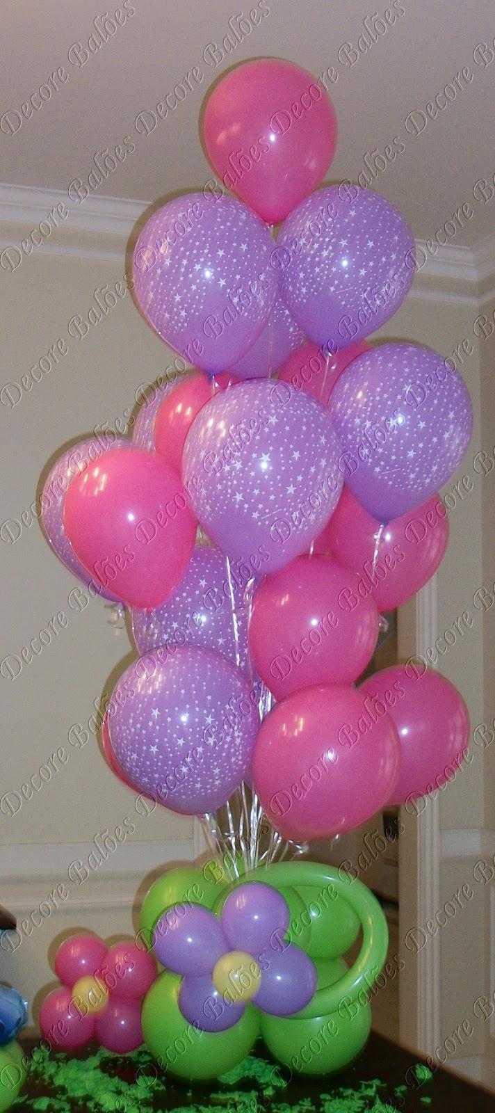 Decore Balões Arranjo de mesa lilás e rosa estrelas