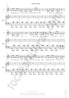 """2 Su primera partitura en www.tocapartituras.com es un villancico con tintes orientales muy divertido, fácil y pegadizo. Su título es """"Nadala Oriental"""" (Navidad Oriental). Esperamos les guste a nuestros seguidores/as de piano. La partitura está orientada para piano acompañamiento y voz. Un excelente villancico para cantar con tus alumnos/as de música y coro infantil. Gracias José Calatayud por compartir partituras en tocapartituras.com. Contigo ya llegamos a 58 colaboradores/as oficiales en el blog, haciendo disponer de canciones tan hermosas como el villancico de hoy en forma partitura para aquel que quiera aprender y pasar un buen rato de piano.  Partitura de Voz y Piano Acompañamiento de Nadala Oriental Villancico Oriental Piano Accompaniment Sheet Music and Voice Music Score by José Calatayud"""