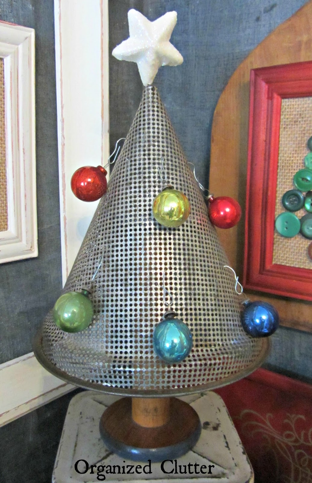 Re-purposed Berry Sieve Christmas Tree www.organizedclutterqueen.blogspot.com
