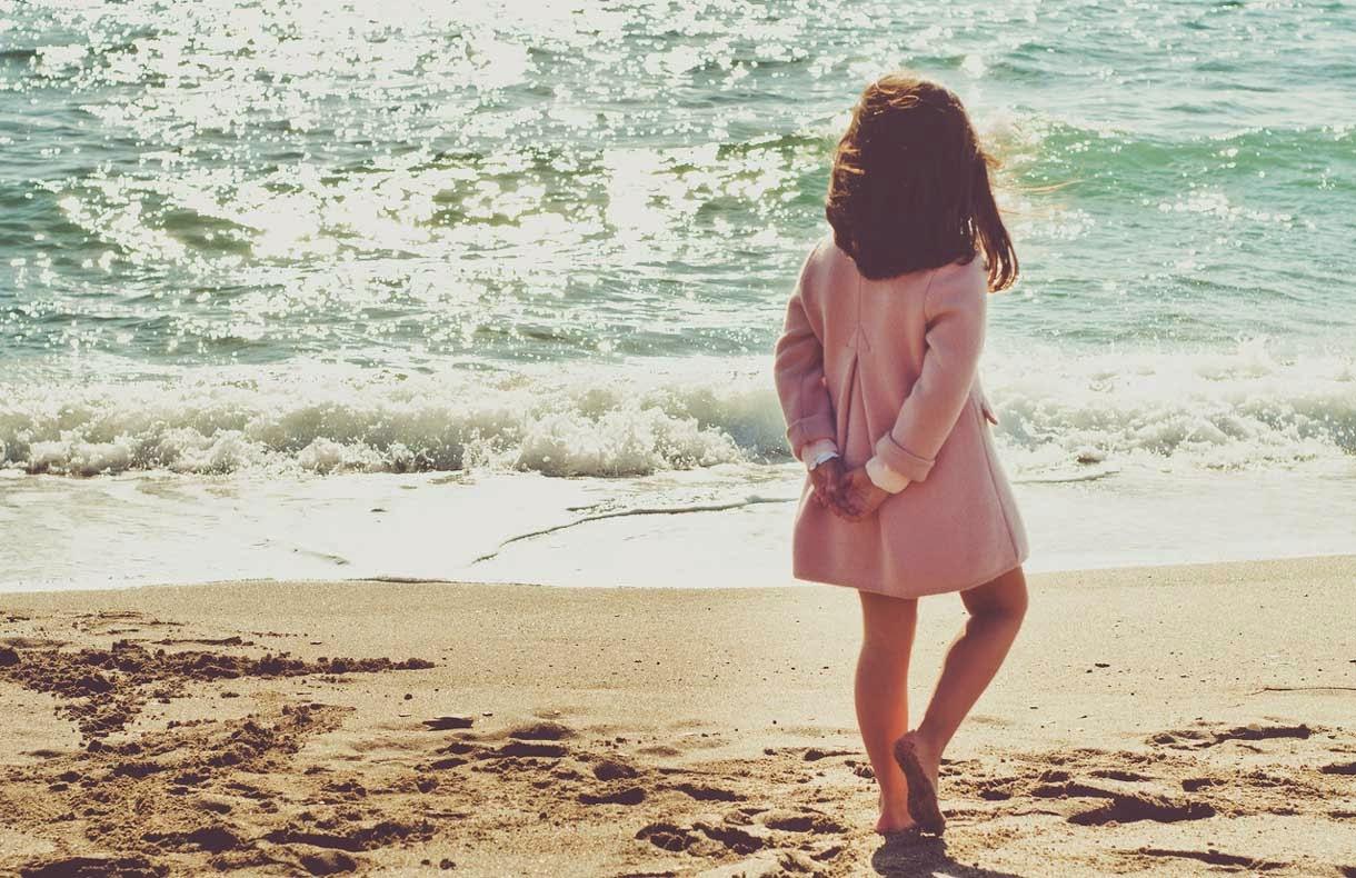Walking Child at Sea Beach