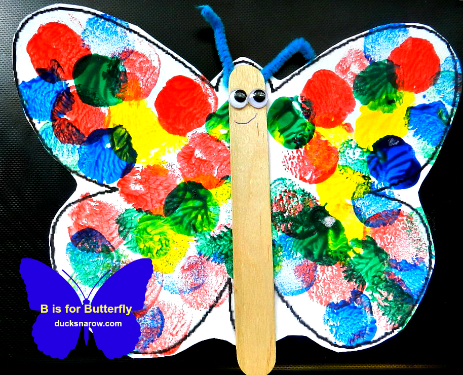b is for butterfly preschool lesson craft ducks 39 n a row On butterfly art and craft