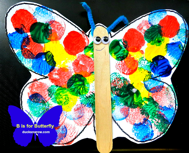 butterfly craft, marshmallow painting, tempera paints, preschool crafts, dot painting