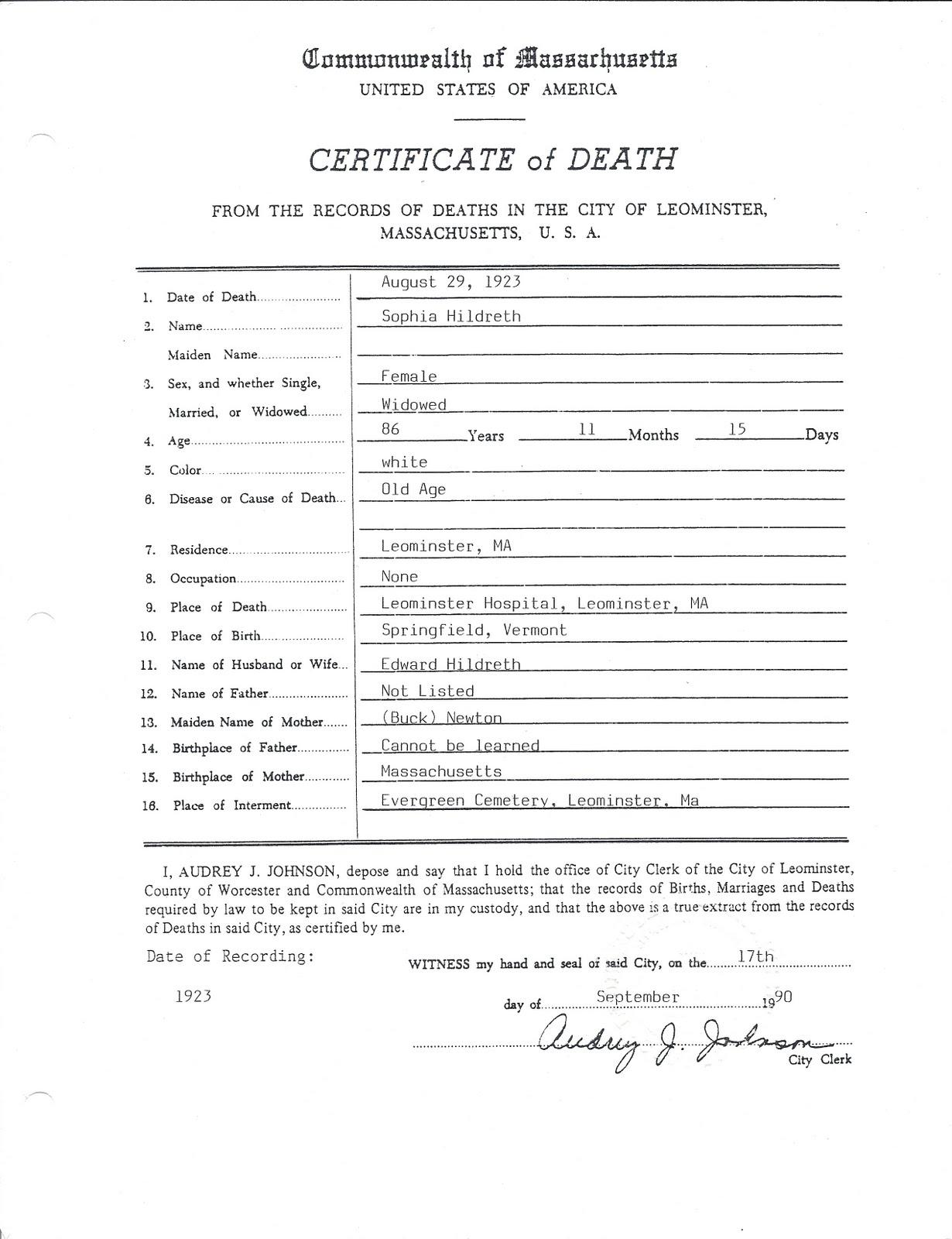 Genea musings treasure chest thursday sophia newton treasure chest thursday sophia newton hildreths death certificate aiddatafo Image collections