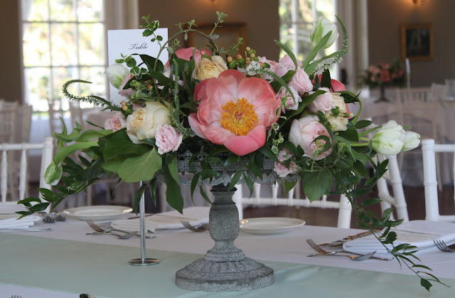 Cake plate centerpiece - Highland Country Club - Garrison, NY Wedding Flowers