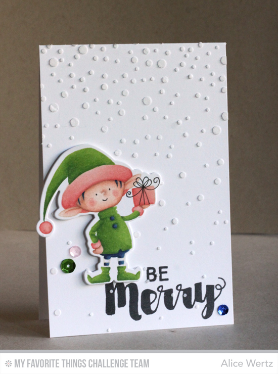 Merry Elf Card by Alice Wertz featuring the Birdie Brown Santa's Elves stamp set and Die-namics, Joyous Christmas stamp set, and the Snowfall stencil #mftstamps