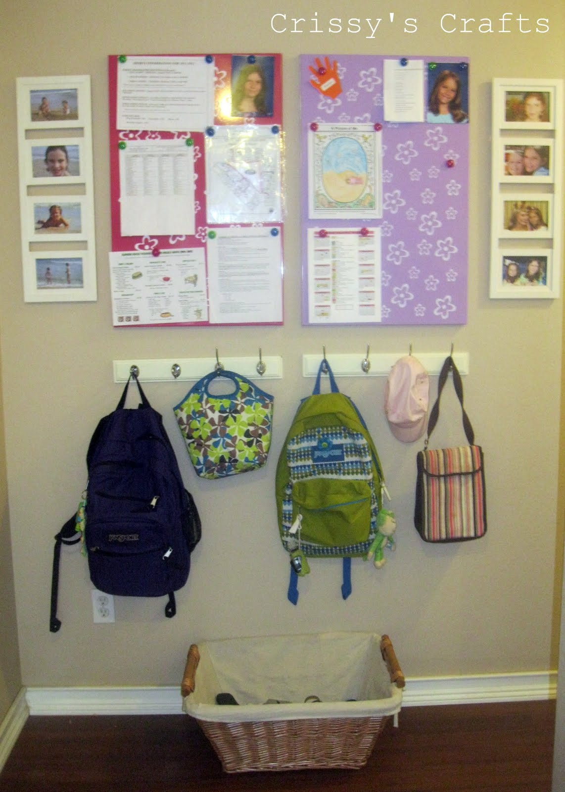 Crissy 39 s crafts school is in session get organized Ideas for hanging backpacks