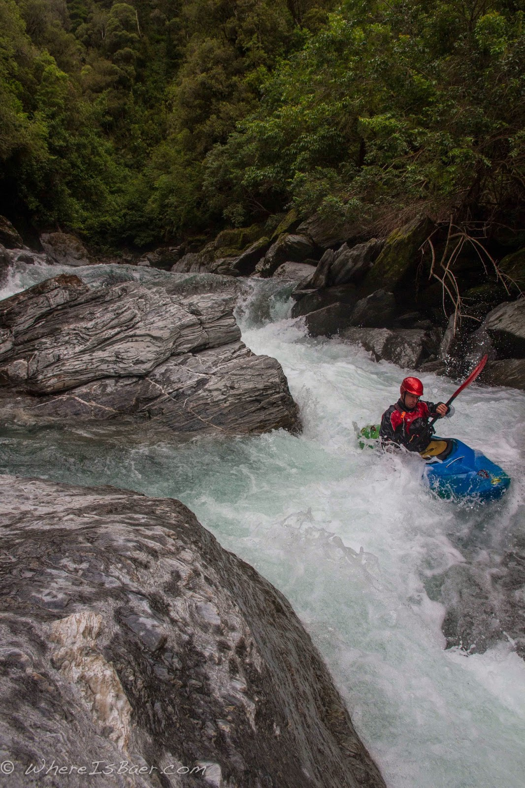 starting into the Crooked River, NZ west coast, hike in, Chris Baer