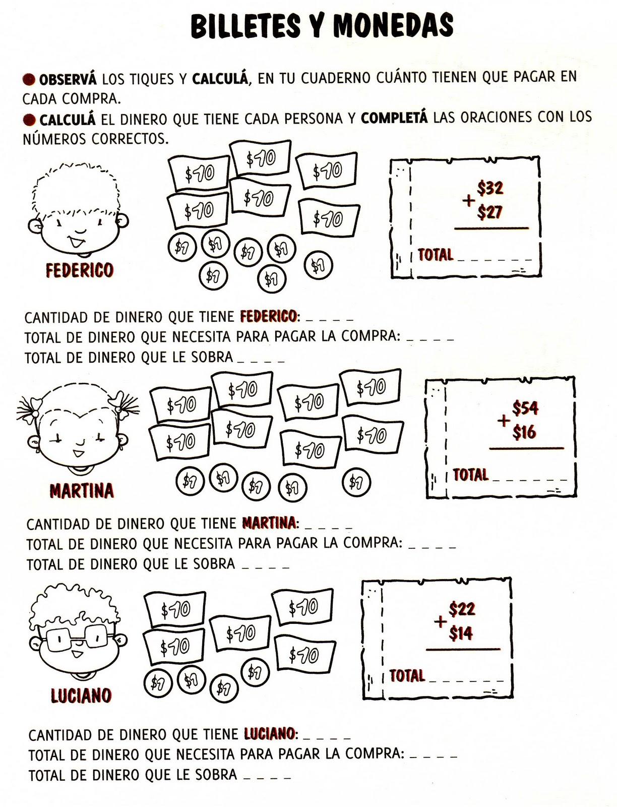 Aula Seño Sory...: Actividades con billetes y monedas