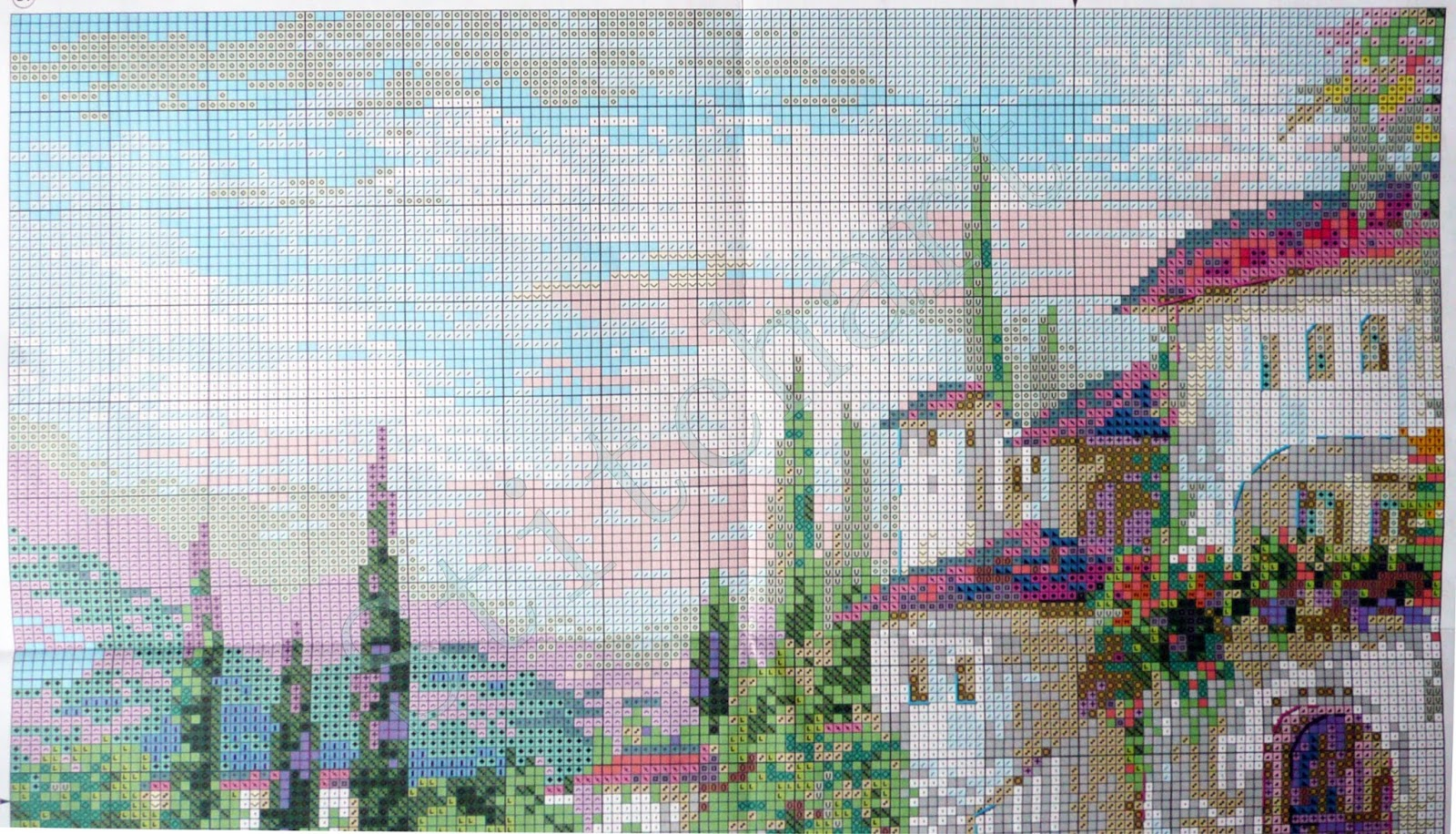 Схема для вышивки фонтан