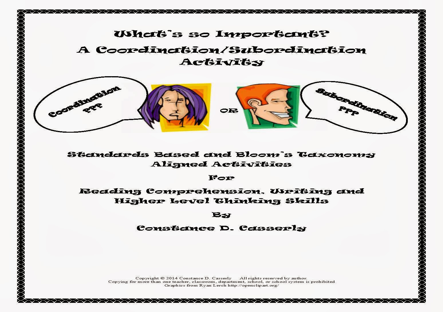 Language Arts - What's So Important? A Coordination and Subordination Activity cover