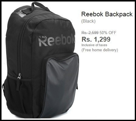 Reebok Black Backpack Worth Rs.2599 For Rs.1104 Only (60% Discount).