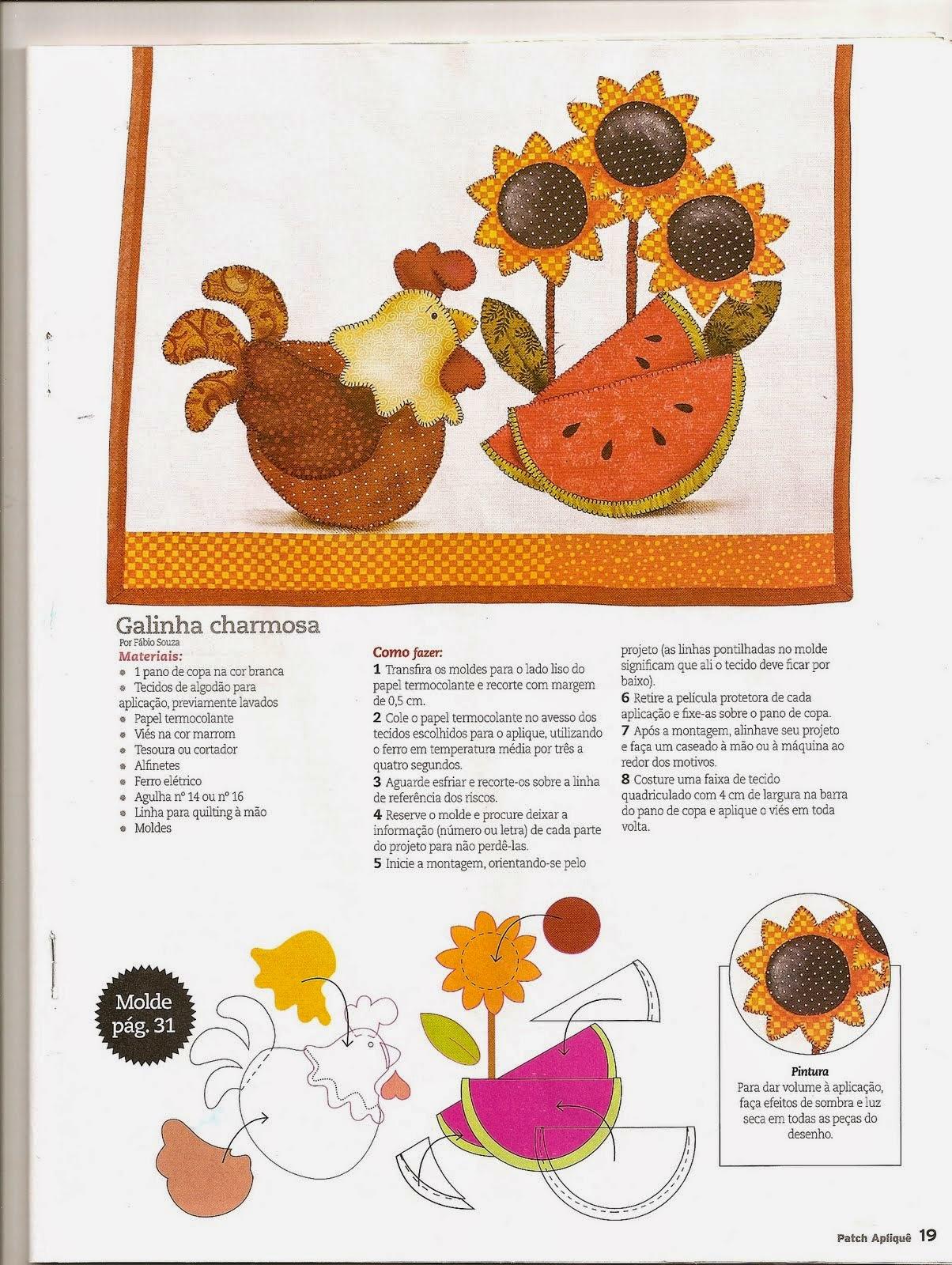 Riscos de galinha e melancia para patchwork