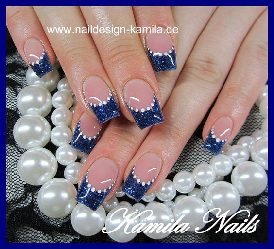 Amazing Nails With Blue Tips