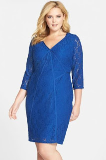 Adrianna Papell Stretch Lace Sheath Dress with Back Cutout (Plus Size)