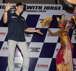 Jorge Lorenzo came to Bali on Wednesday, January 30, 2013