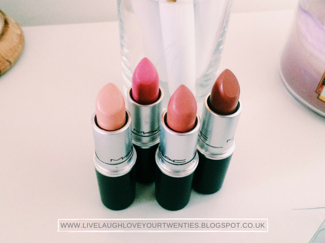 make up, mac, lipstick, lippy, lip colour, myth, please me, velvet teddy, taupe, neutral nude, muted rosy, tinted pink, muted red, beige, matte