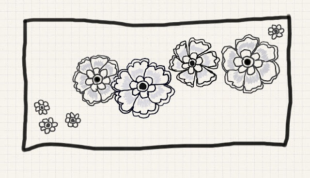 Doodle flowers in grey and black
