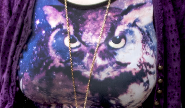 fashion, owl print body, owl print, purple