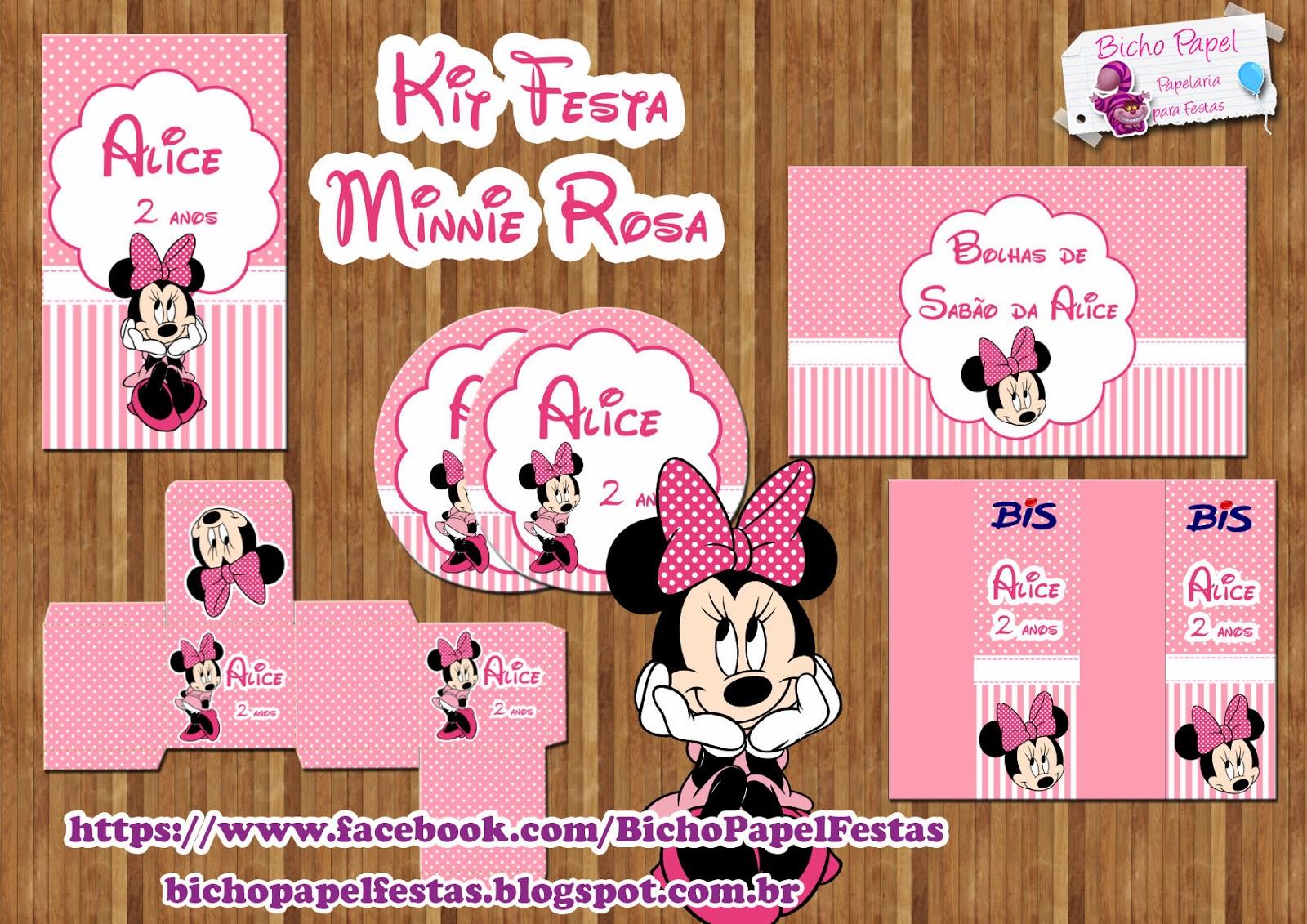 Kit Festa Minnie Rosa Para Imprimi