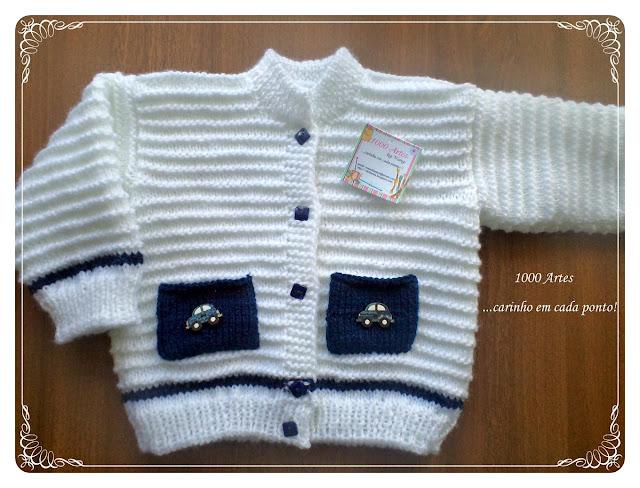 Lacivert/beyaz erkek bebek hırkası modeli