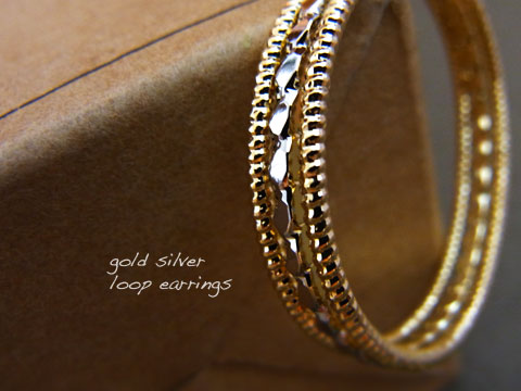 Gold silver loop earrings