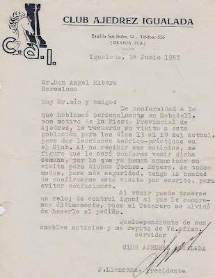 Carta de J. Llansana a Ángel Ribera, 1955