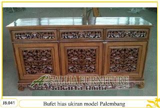 Bufet motif ukiran kayu jati Palembang