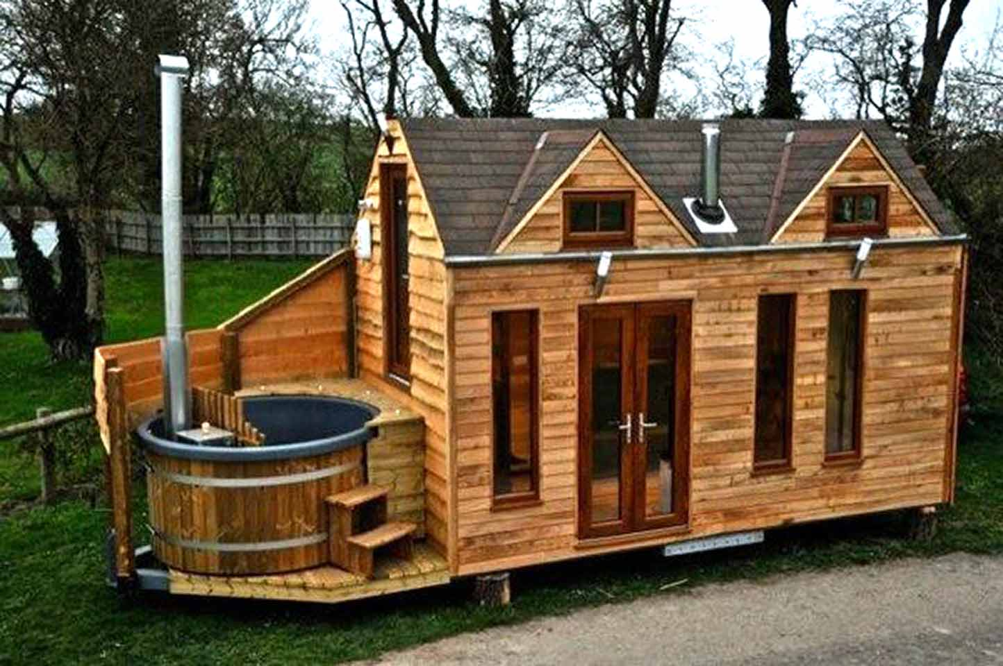 Tiny Cabin On Trailer With Outdoor Hot Tub Built In UK