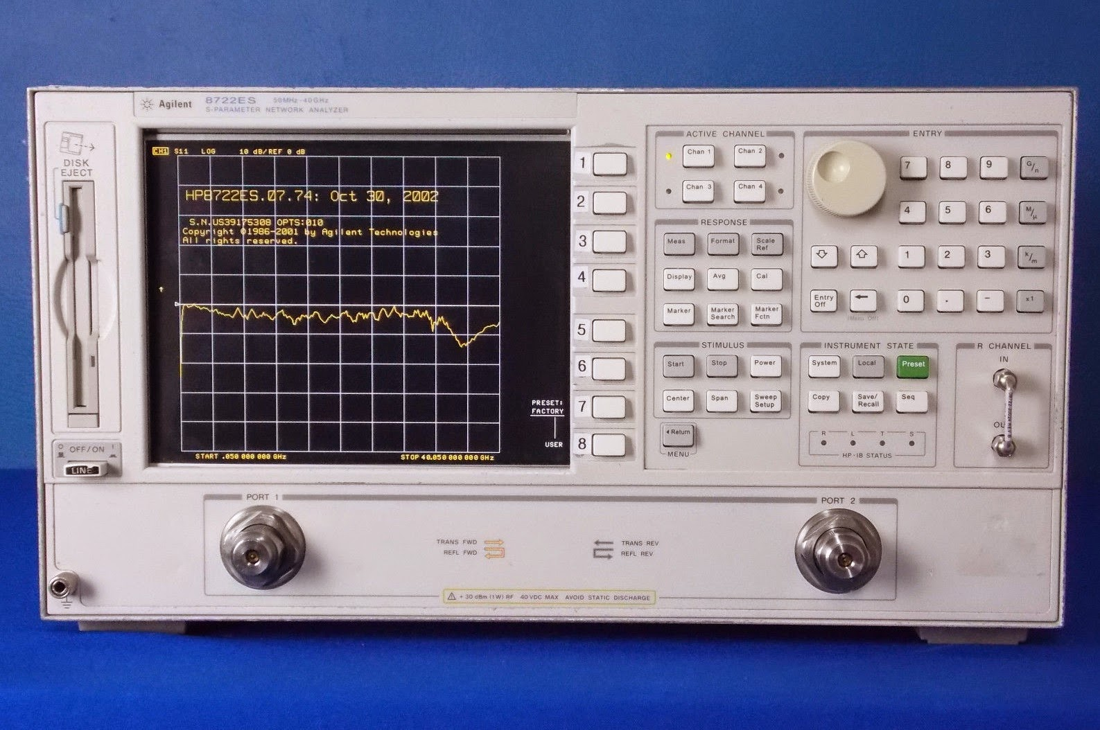 Premium Used Agilent 8722ES with Option 10 at BRL Test